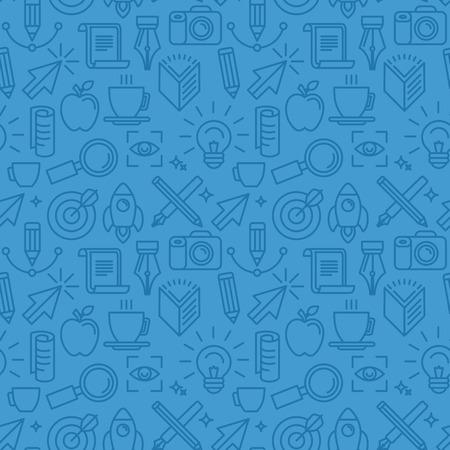 Vector naadloos patroon met pictogrammen met betrekking tot grafisch ontwerp - abstracte achtergrond in blauwe kleuren voor website Stock Illustratie