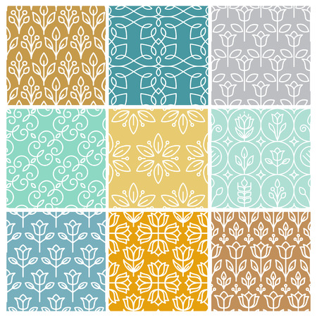 Vector set of linear simple patterns - abstract backgrounds and textures in trendy mono line style Illustration
