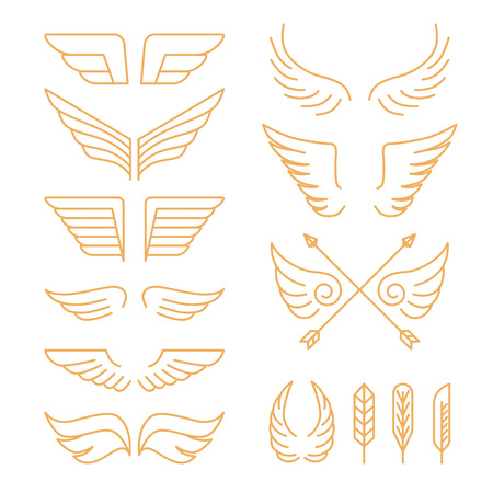 Vector set of linear icons - wings and design elements in mono line style Иллюстрация