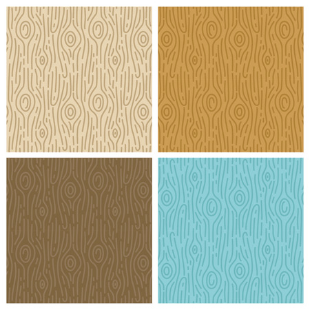 wood grain: Vector wooden seamless patterns in trendy mono line style - abstract backgrounds