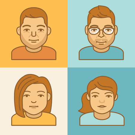 mono: Vector linear avatar icons - 4 different faces in mono line style - man and woman