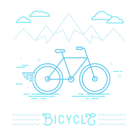 bike: Vector poster design template in linear style with bicycle - sport concept illustration