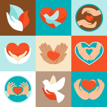 manos logo: Muestras del vector y símbolos en estilo plano - símbolos del amor y la atención de las organizaciones de caridad y voluntarios Vectores