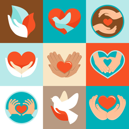 flower logo: Vector signs and symbols in flat style - symbols of love and care for charity organizations and volunteers