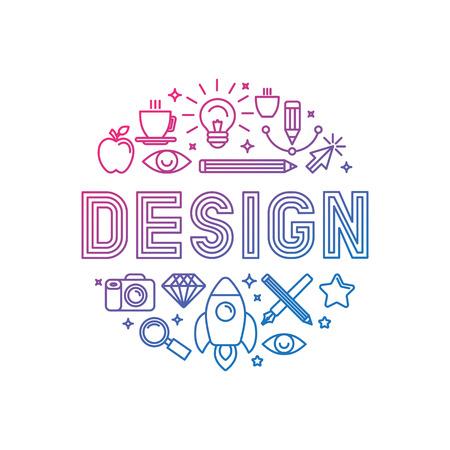 Vector lineaire logo design concept - illustratie met pictogrammen en symbolen die verband houden met grafische vormgeving en creatief proces