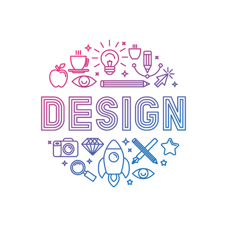 graphic designer: Vector linear logo design concept - illustration with icons and signs related to graphic design and creative process