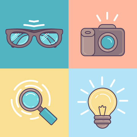ligh: Vector linear set of graphic designer tools icons - camera, glasses, ligh bulb and magnifier Illustration