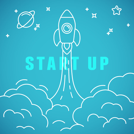 Vector start up concept in linear style - space ship launching