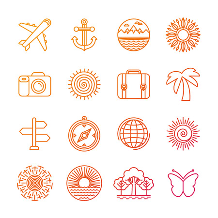 wanderlust: Vector set of linear icons related to summer and travel - holiday and vacation signs