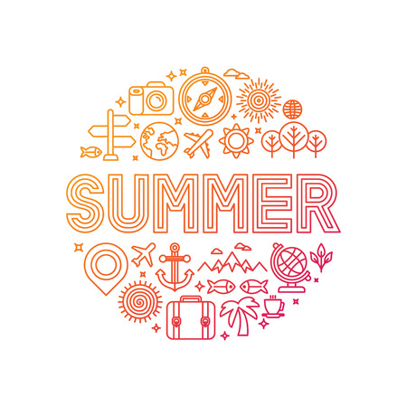 Vector summer lettering with linear icons and signs - travel and vacation concept Ilustrace