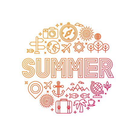 Vector zomer belettering met lineaire pictogrammen en tekenen - reizen en vakantie concept Stock Illustratie