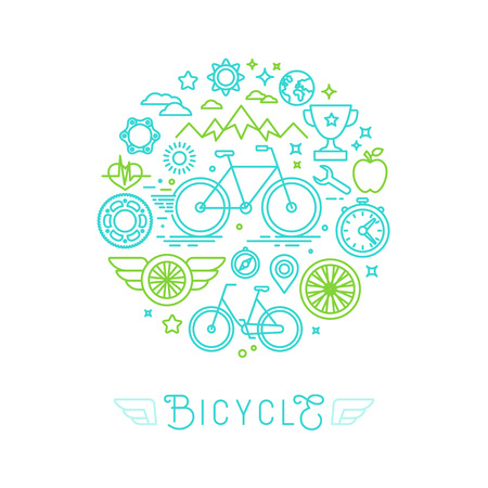 Vector icons and logo design elements in trendy linear style - bicycle and sport