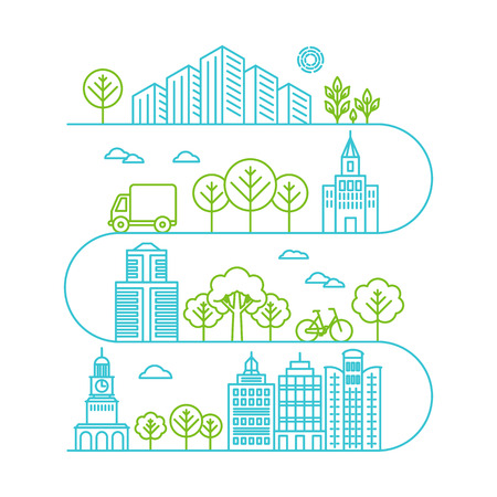 Vector city illustration in linear style - buildings and clouds - graphic design template Illustration