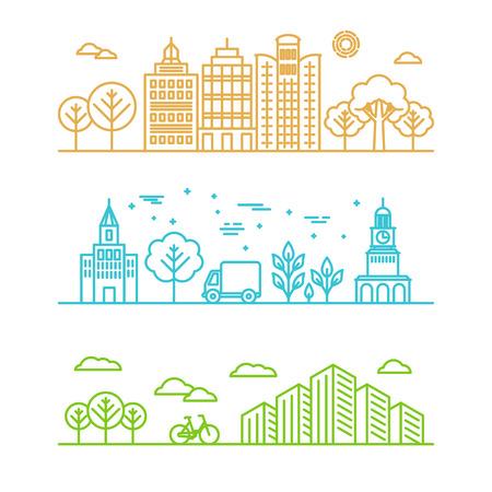 city: Ilustración vectorial de la ciudad en estilo lineal - edificios y las nubes - plantilla de diseño gráfico Vectores