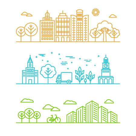 Vector city illustration in linear style - buildings and clouds - graphic design template Vettoriali