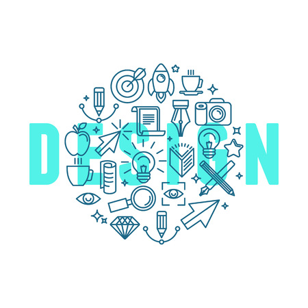Vector graphic design concept in linear style - icons and signs