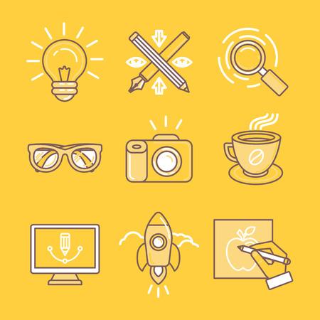 Iconos vectoriales lineales y signos en colores amarillo relacionados con el diseño gráfico, la marca y dibujo