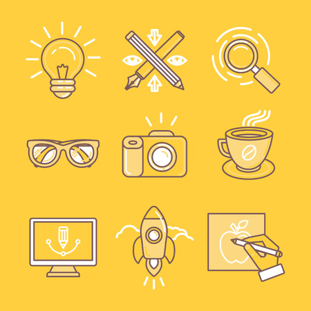 Vector linear icons and signs in yellow colors related to graphic design, branding and drawing
