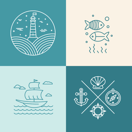 Vector set of nautical icons and logo design elements in trendy linear style Illustration