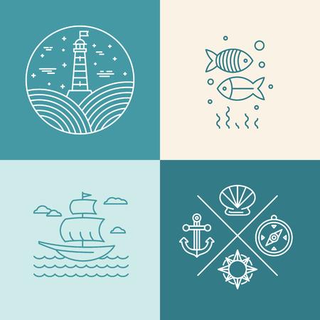 logo poisson: Vector set d'icônes nautiques et des éléments de conception de logo de style branché linéaire