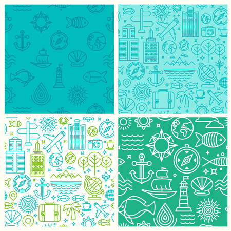 nautical pattern: Vector seamless patterns with linear icons and signs related to travel and sea - abstract textures and backgrounds for travel agencies websites and banners Illustration