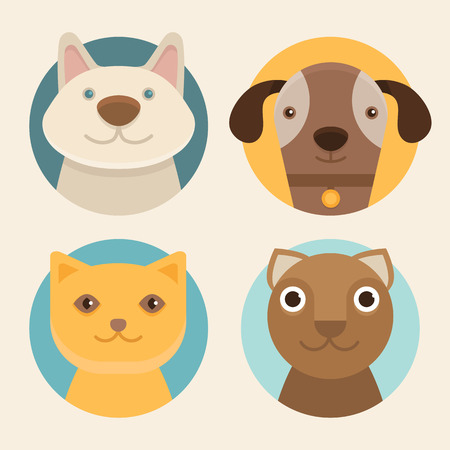 Vector round badges with cats and dogs in flat style Vettoriali