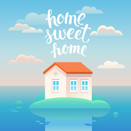 Vector home sweet home poster in flat cartoon style with house illustration and lettering Illustration