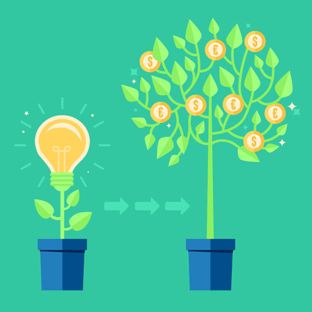 grow money: Vector creative concept in flat style - light bulb growing from the flower pot - idea icon