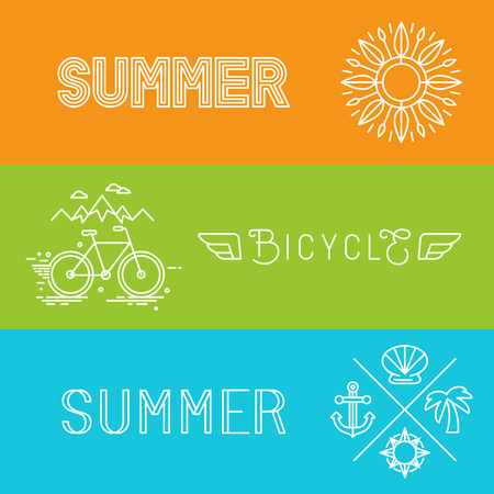 wanderlust: Vector summer holidays banners and signs in trendy linear style - lettering and icons Illustration
