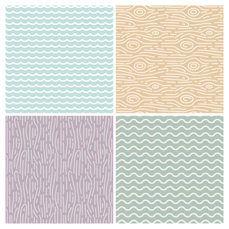 Vector linear seamless patterns - wooden and wave textures in mono line style