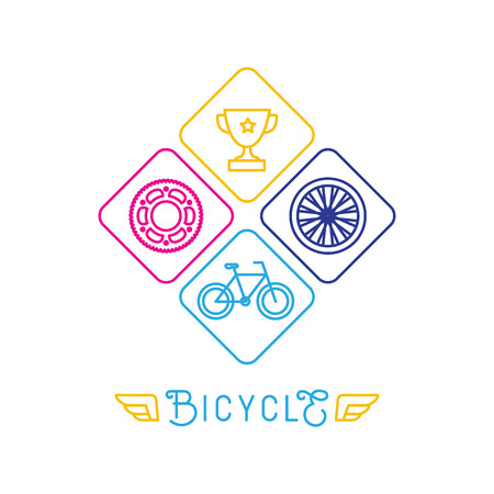 Vector hipster bicycle template - icons in trendy linear style