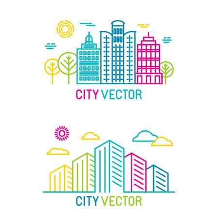realty: Vector city and architecture icons in trendy bright linear style - realty concepts and signs