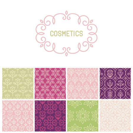 Vector set of floral border and seamless patterns in trendy mono line style - design elements for florists, spa and cosmetics Иллюстрация