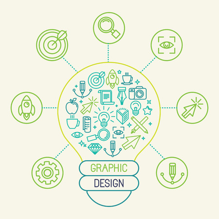 Vector graphic design concept and infographic design elements in trendy linear style - creation process and innovation Vettoriali