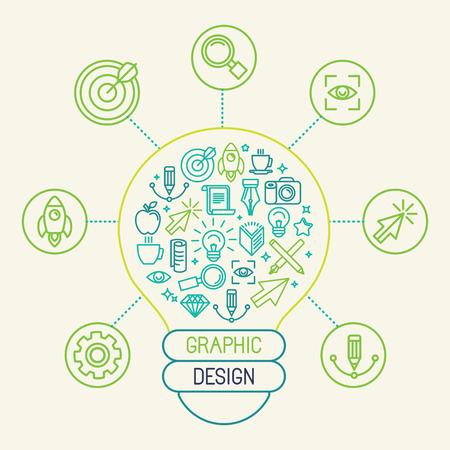 Vector graphic design concept en infographic designelementen in trendy lineaire stijl - creatie proces en innovatie