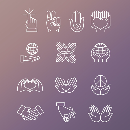 charity: Vector set of linear hand icons and gestures - hands and fingers