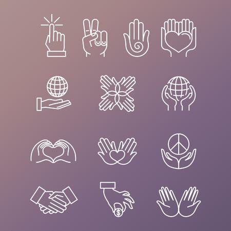 Vektorové sada lineárních ručních ikon a gest - ruce a prsty Ilustrace