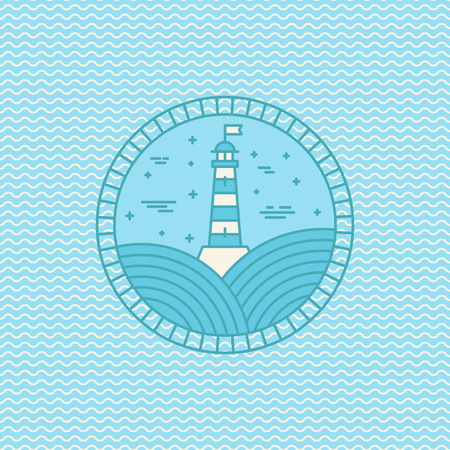 lighthouse at night: Vector lighthouse icon design template in trendy linear style - abstract emblem and badge on wave pattern - navigational and travel concept