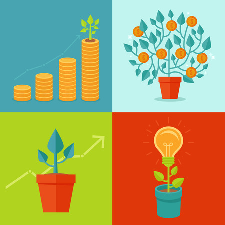 grow money: Vector growth concepts in flat style - illustrations related to progress and development