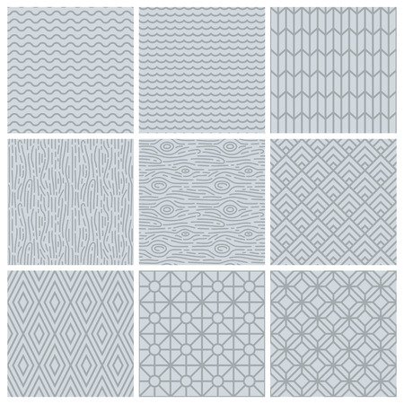 Vector set of simple mono line patterns - abstract backgrounds in trendy linear style