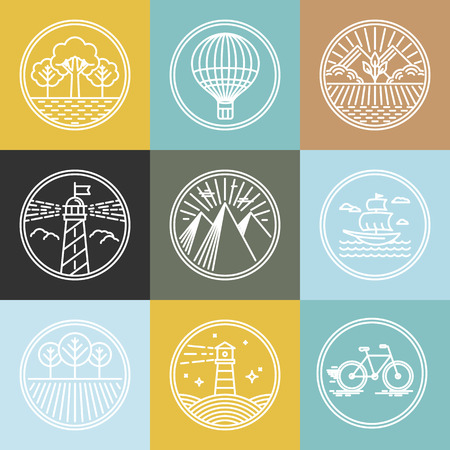Vector set of travel badges in trendy linear style - nature parks and transport concepts