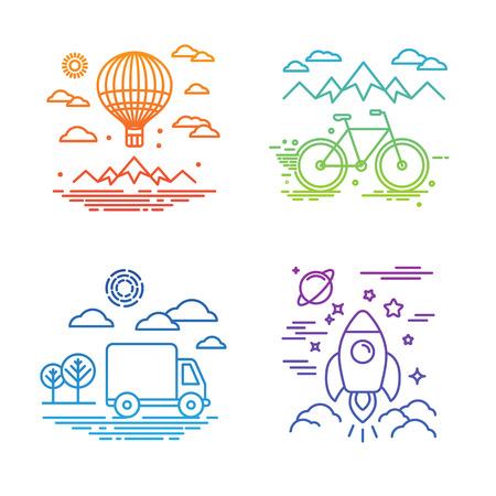 ベクトル旅行と交通の概念 - トレンディな直線的なスタイル、熱気球、自転車、車、宇宙船