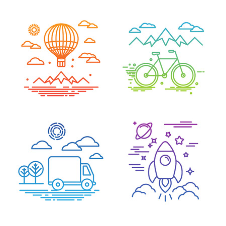 bikes: Vector travel and transportation concepts in trendy linear style - air balloon, bicycle, car and space ship Illustration