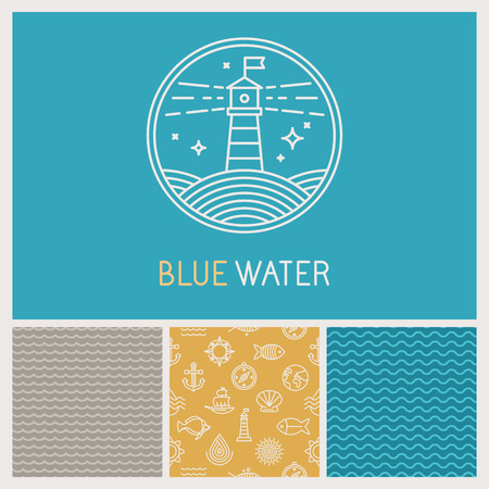 Vecteur phare badge et icône dans style branché linéaire - un ensemble d'éléments de conception et les modèles avec trois modèles sans couture liés à l'eau, l'océan et la mer