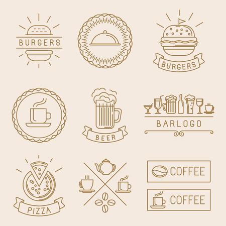 lineal: Etiquetas de los alimentos de vectores lineales e insignias con ilustraciones lineales de moda - café, cerveza, pizza y hamburguesas Vectores