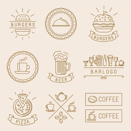 beer label design: Vector linear food labels and badges with trendy linear illustrations - coffee, beer, pizza and burger