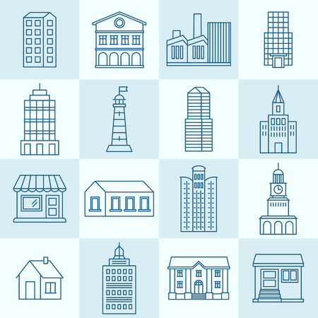 building block: Vector collection of linear icons and illustrations with buildings, houses and architecture signs - design elements for city illustration or map