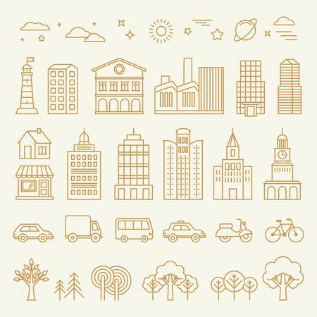 city: Vector colección de iconos lineales e ilustraciones con edificios, casas y signos arquitectura - elementos de diseño para la ilustración de la ciudad o un mapa