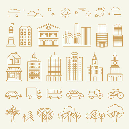 city background: Vector collection of linear icons and illustrations with buildings, houses and architecture signs - design elements for city illustration or map