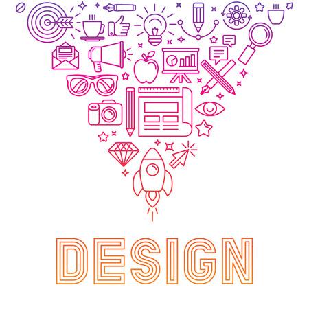 그래픽 디자인 및 창작 과정에 관련된 아이콘 및 징후와 그림 - 벡터 선형 아이콘 디자인 개념